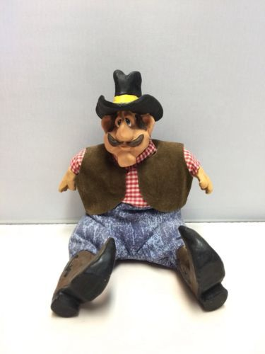 Mustached Cowboy Plush Stuffed Russ Berrie Kathleen Kelly Critter Factory EUC