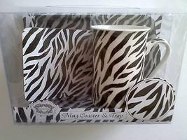 Kent Pottery Zebra Animal Print Cup Mug Coaster Tray 3 PC Gift Set Black... - $21.95