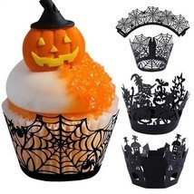 12Pcs Halloween Decoration Cupcake Wrappers Case Cake Toppers Party Supp... - £6.22 GBP