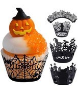 12Pcs Halloween Decoration Cupcake Wrappers Case Cake Toppers Party Supp... - ₨530.65 INR