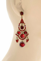 """3"""" Long Red Crystals & Rhinestones BOHO Statement Chandelier Earrings, Party,  - $17.10"""