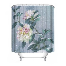 1Pcs 6 Types Flower Shower Curtain Polyester Waterproof Bathroom Curtain Decorat image 5