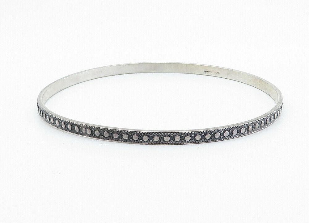 925 Sterling Silver - Vintage Dark Tone Patterned Thin Bangle Bracelet - B6041 image 2