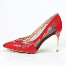 pp077 Elegant mesh heeled pumps size 36-41, red - $58.80