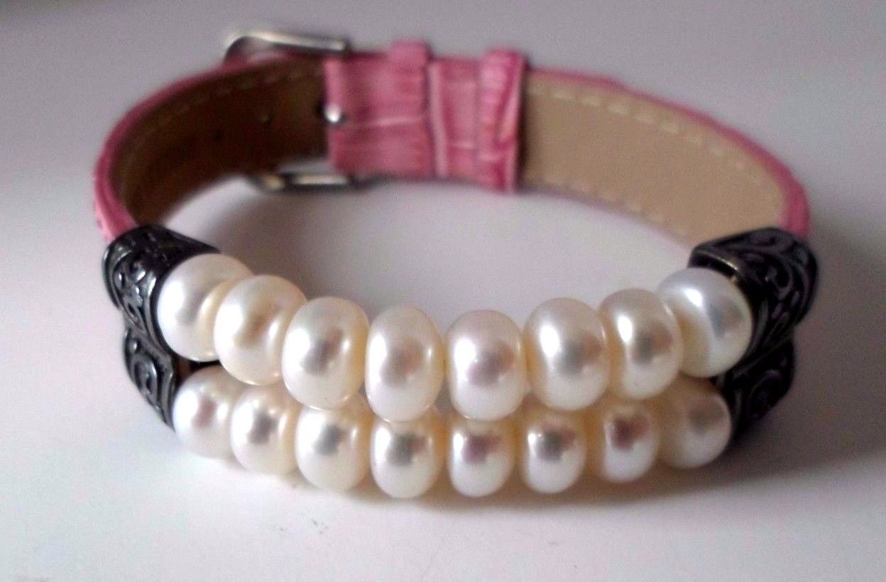 "Primary image for Sterling Silver Pearl Bead Scroll Pink Leather Strap Bracelet Adjusts 6 1/2""-8"""