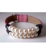 Sterling Silver Pearl Bead Scroll Pink Leather Strap Bracelet Adjusts 6 ... - $39.15