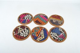 rug coasters 4,5 inch kilim & coasters  set 6 pcs  pink coasters wool co... - $29.00