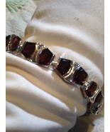 Nemesis Art Deco Vintage Genuine Garnet 92.5% Sterling Silver Rhodium Br... - $154.28