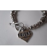 Sterling Silver Charm FRIEND Bracelet Heart 7.5 inches Toggle Clasp SJC ... - $54.83