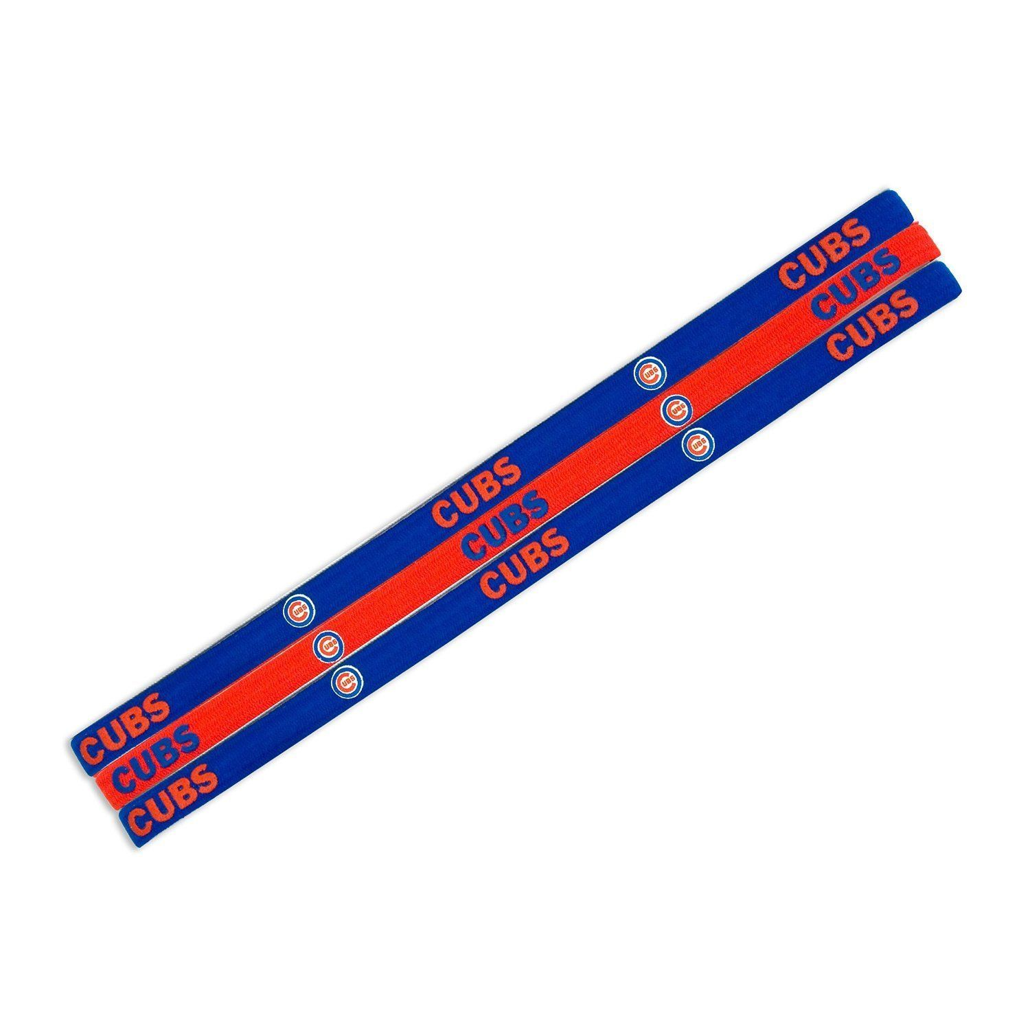 CHICAGO CUBS Pack of 3 ELASTIC HAIR HEADBANDS TEAM LOGO MLB BASEBALL