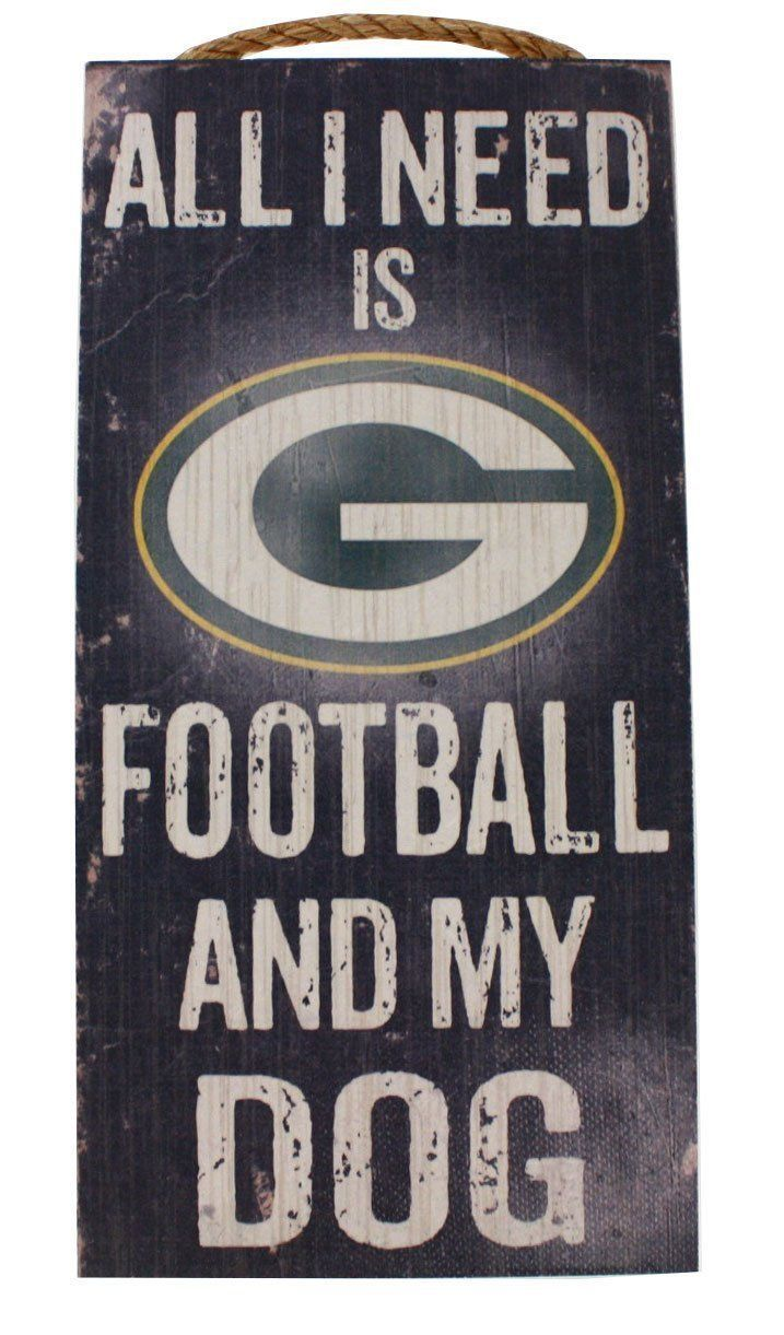 "GREEN BAY PACKERS FOOTBALL and my DOG WOOD SIGN and ROPE 12"" X 6""  NFL MAN CAVE!"