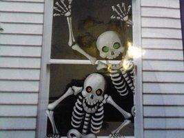 Halloween Skeletons Scary Door Banner Cover Wall Mural Decoration - ₨464.03 INR