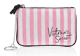 NEW Victoria's Secret Beauty Rush Mini Bag in Pink & White Stripe - $7.50