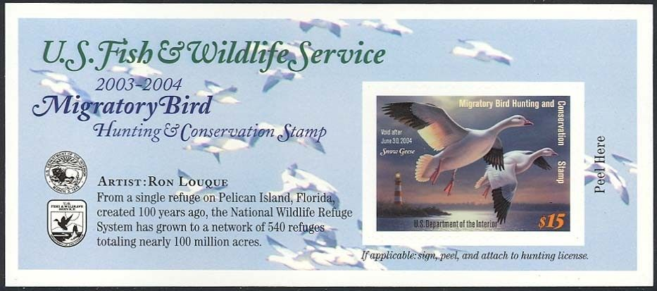 RW70A, DUCK STAMP SELF-ADHESIVE PANE - PRICED TO SELL QUICKLY