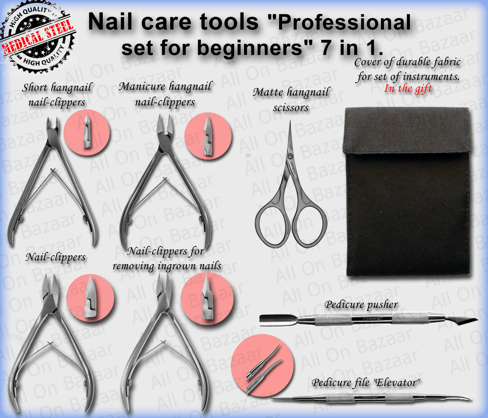 """Professional-quality tools for nail care """"Professional set for beginners"""" 7 in 1 - $89.10"""