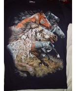 Hanes Horses T-Shirt Size Small (34-36) Dark Blue - $14.00