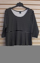 NEW WOMENS PLUS SIZE 3X BLACK & WHITE JERSEY STRIPED ELBOW SLEEVES TENT ... - $19.34