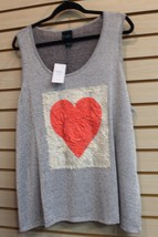 New Womens Plus Size 3 X Gray Hacci Tank Top Shirt W Red Rose Petals For Heart - $17.41