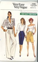 Misses' Petite Shorts Pants Skirt Sewing Pattern Vogue 7449 ~ Sz 12-16  ... - $2.00