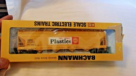 HO Scale Bachmann 56' 4 Bay Hoppes, Shell Chemicals, Yellow, #5703, BNOS - $22.28