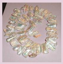 Beautiful White Biwa PEARL Strand Choker Necklace with 10K Yellow Gold C... - $79.99
