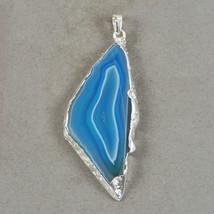 Light and Dark Blue Slice Freeform Gemstone Sterling Silver Wrapped Pendant - $29.99