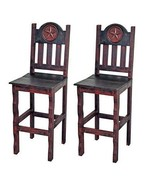 """QTY 2 30"""" Red Scraped Bar stools With Star Real Wood Rustic Western - $465.29"""