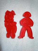 Red Plastic Cookie Cutters Boy and Piggy Set of Two - $1.99