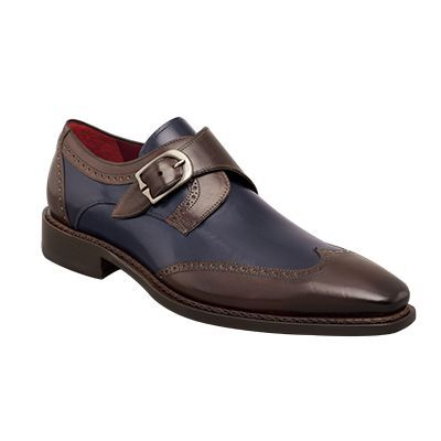 Handmade Mens Wingtip Two Tone Brown And Navy Blue Formal Monk Shoes, Men Shoes