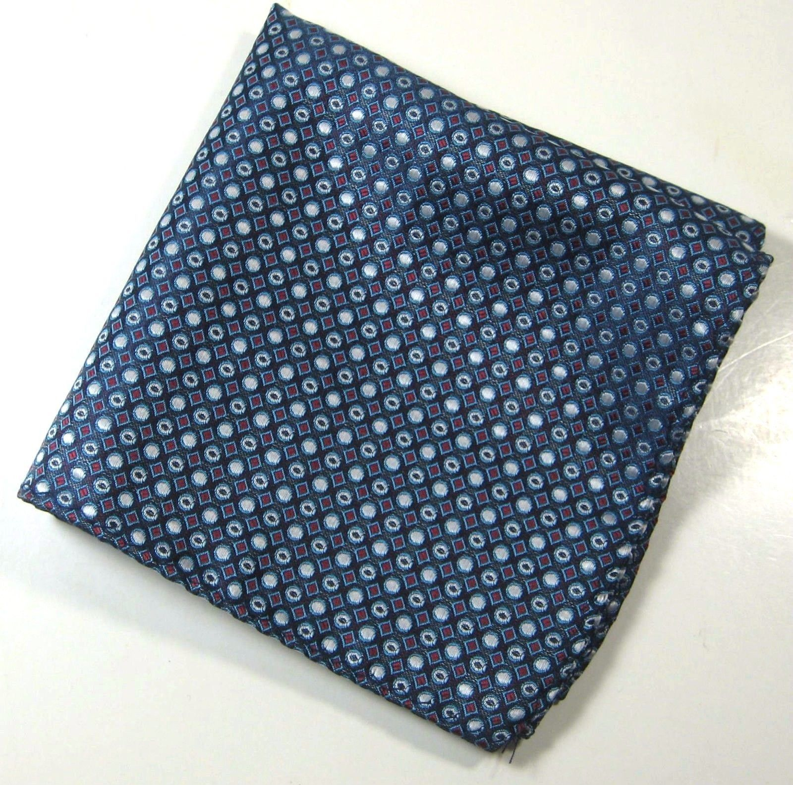 ULTRA RARE Rich Metallic Navy Silver Red Diamonds Pocket Square Handkerchief