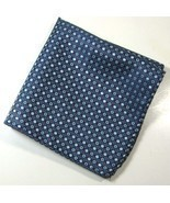 ULTRA RARE Rich Metallic Navy Silver Red Diamonds Pocket Square Handkerc... - $59.39
