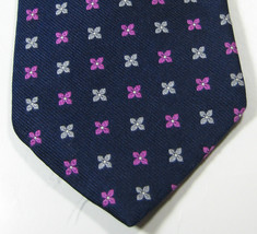 Brooks Brothers Navy With Purple Silver Flowers Rare Tie Excellent 100% Silk - $29.99