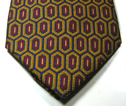 BARNEYS NEW YORK Gold Burgundy Navy Geometric Made in Italy Tie 100% Silk - $29.99