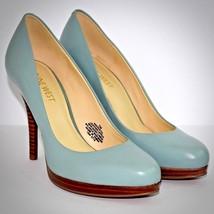 Nine West Kristal Heels 7 Blue Leather Platform Pumps Almond Toe Dress S... - €39,13 EUR