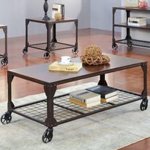 Coffee Table Industrial Style Wood Metal Frame Wheels Furniture Living R... - $445.47 CAD