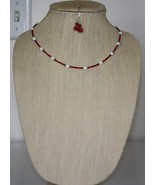 Red & White Coral Necklace and Earrings - $30.00