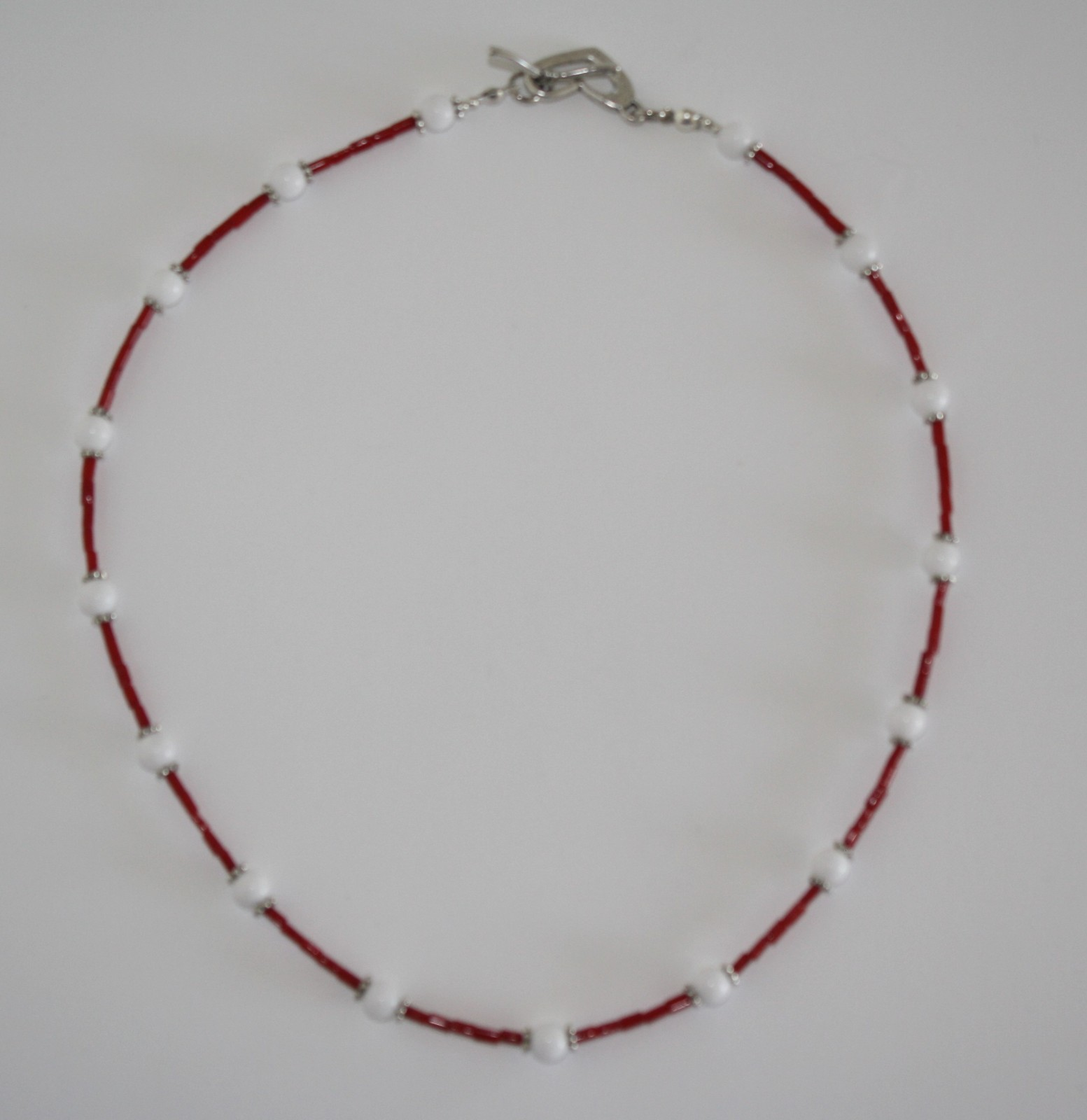 Red & White Coral Necklace and Earrings