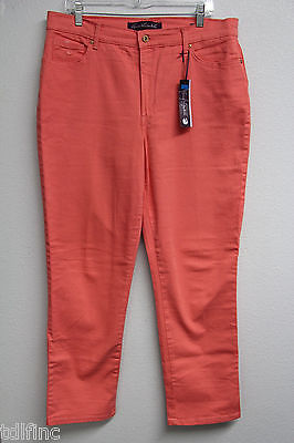 *NEW Gloria Vanderbilt Womens Amanda Ultra Stretch Coral Jeans size 16 x 30L#111