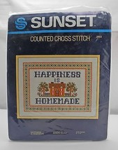 "Sunset ""Happiness is Homemade"" Counted Cross Stitch Kit - New in Opened ... - $9.45"