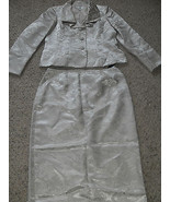 Le Suit New Beige Jacquard  Ruffled Collar Three-Button Jacket 2PC Skirt... - $47.99