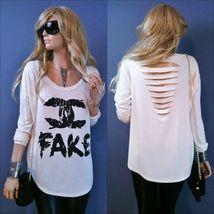CC Rocker Chic FAKE Print Punk Rave Rebel  OPEN CUT BACK T Shirt Tee Dra... - $10.00