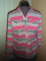 Notations Blouse Top Size Ps Stretch Pink Black White Stripe Nwt  - $15.99
