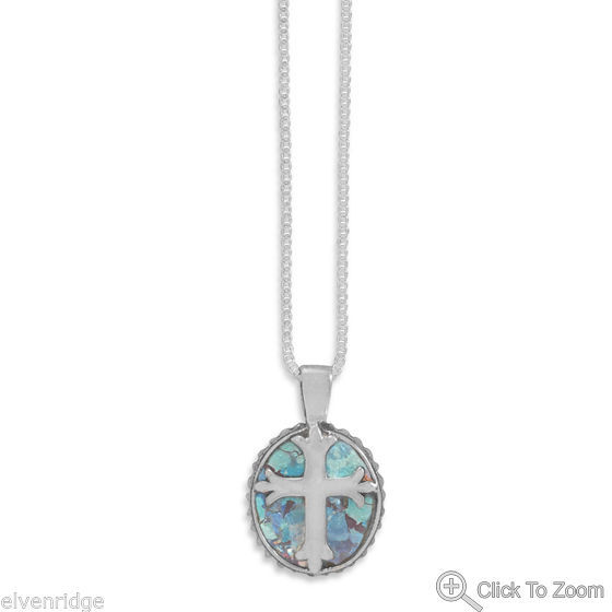 "18"" Oval Roman Glass Cross Necklace Sterling Silver"