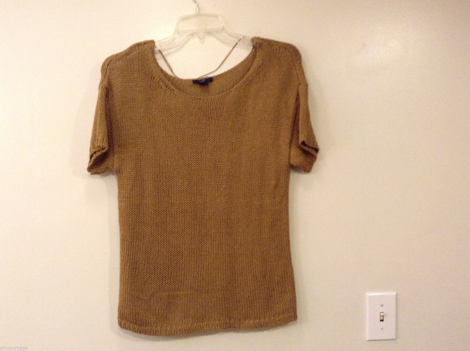 H&M Women's Size M Thick Open-Knit Sweater Short Sleeves Bronze Tan Scoop Neck