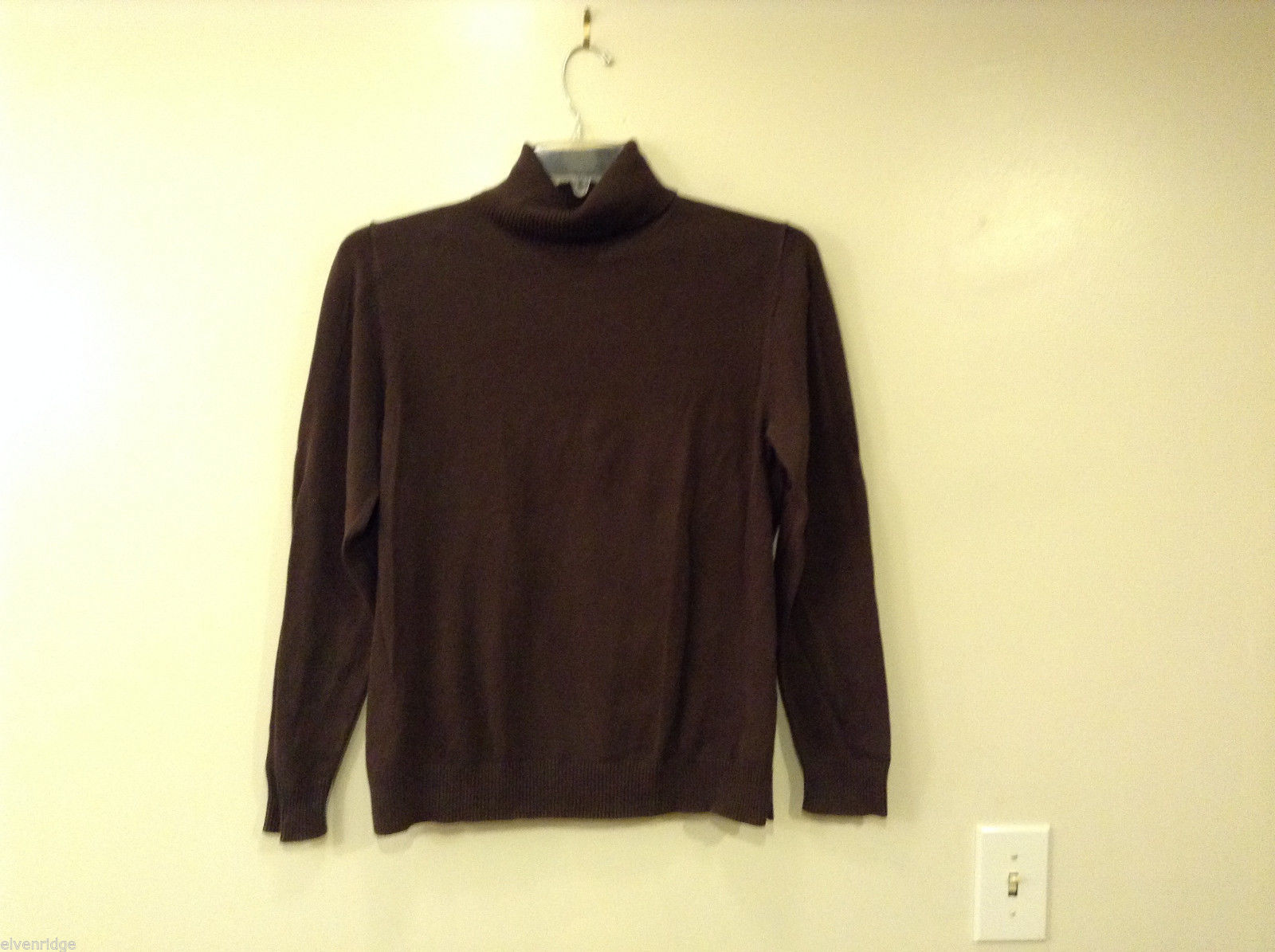 Lands' End Women's Size M 10-12 Turtleneck Sweater Chocolate Brown Ribbed Turtle