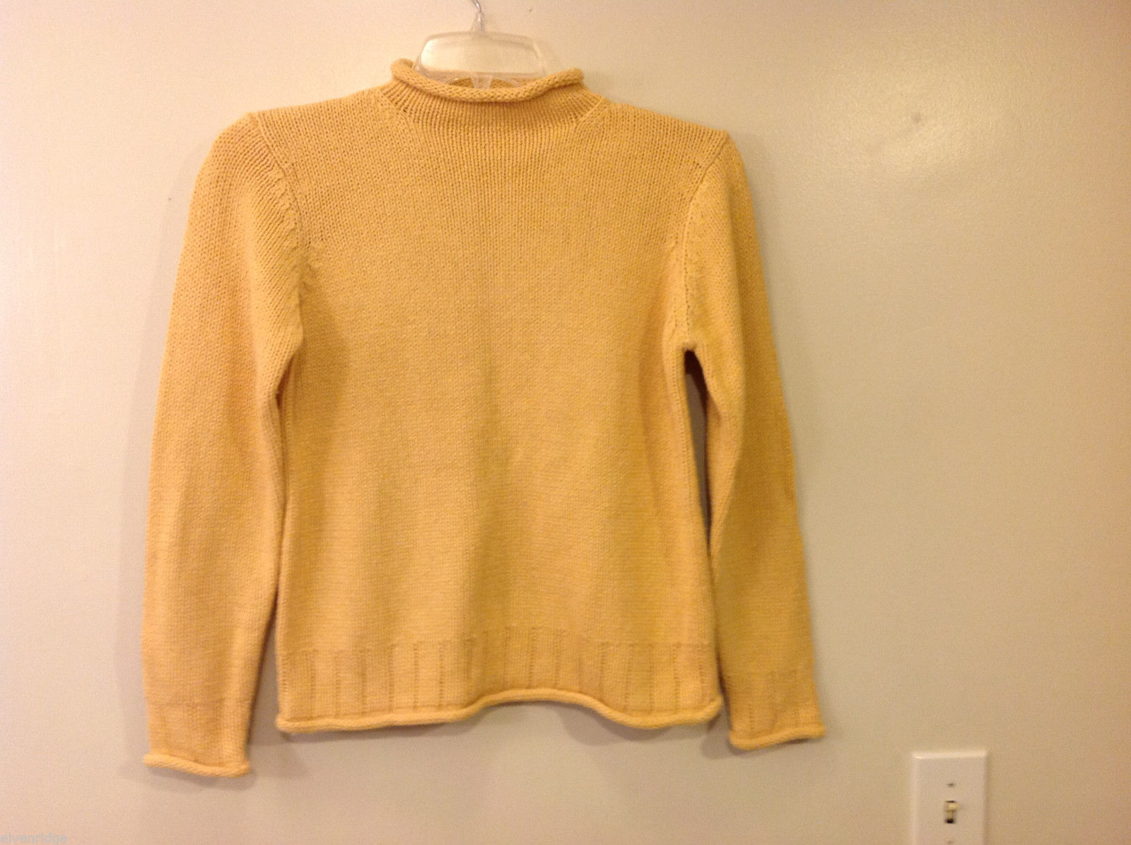 L.L. Bean Women's Size S Mock Neck Sweater Heavy Knit Silk Blend Marigold Yellow