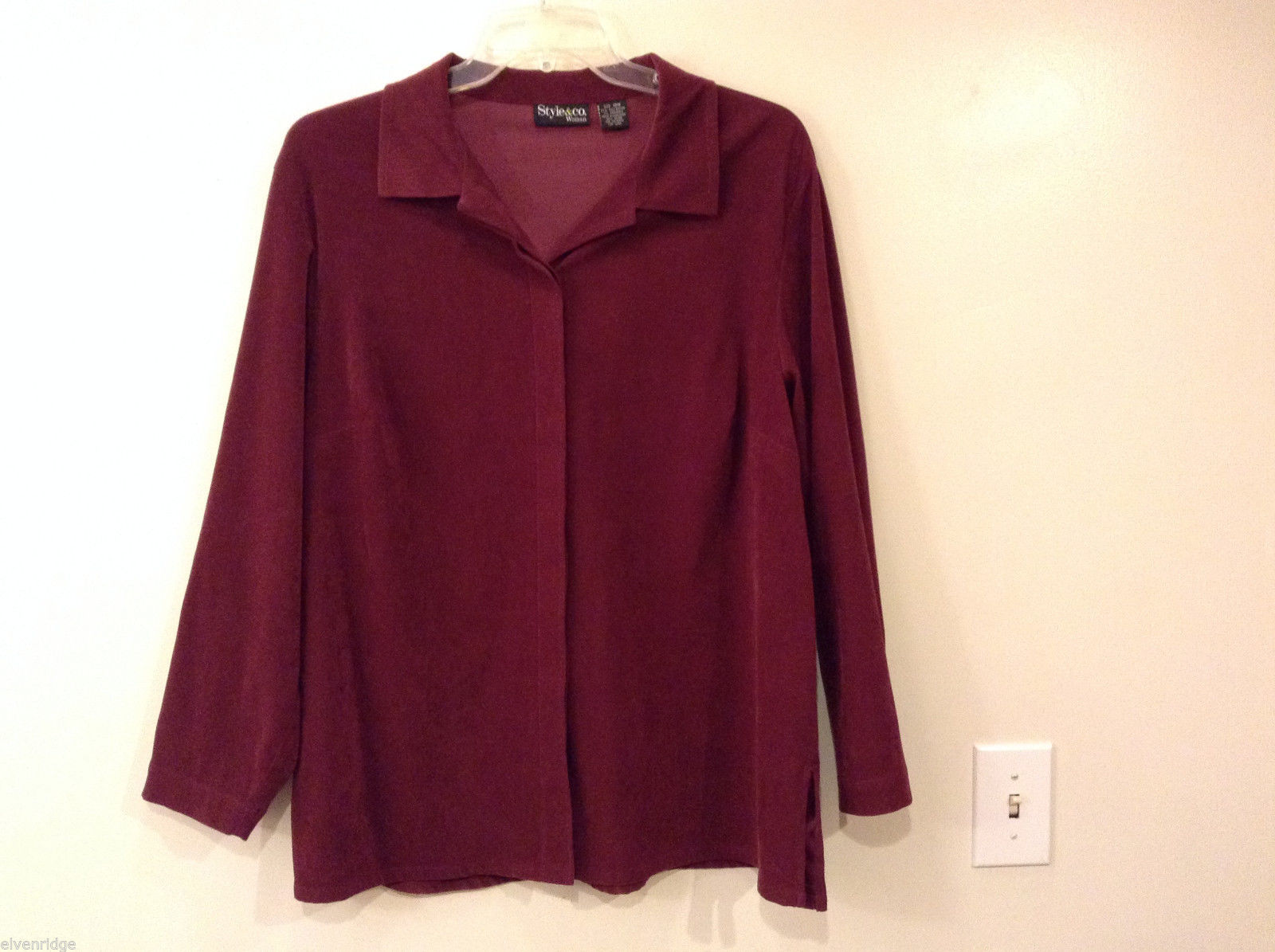 Women's Plus Size 18 Faux Suede Button-Down Shirt Maroon Red-Purple Style & Co.