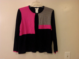 Women's Size L Color Block Sweater Cardigan Black Gray Fuchsia Pink Colorblock