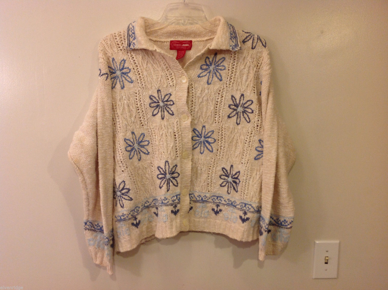 Women's Plus Size 18 20 Cream Cardigan Chunky Sweater Blue Embroidery by Venezia