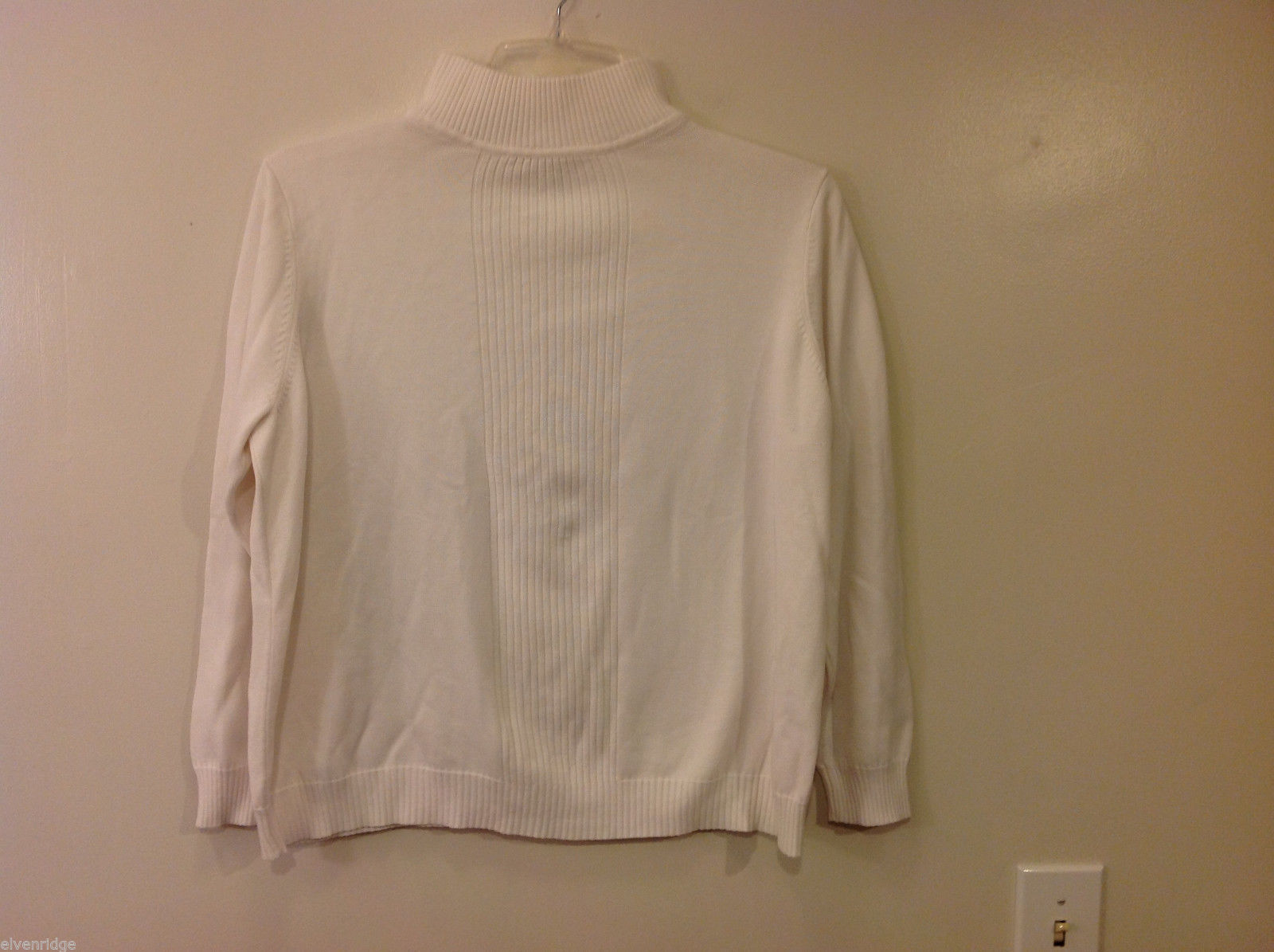 Women's Plus Size 22-24 Turtleneck Sweater Natural White Ribbed Trim dressbarn